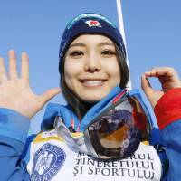 Sara Takanashi celebrates after winning the 50th World Cup event of her career on Sunday. | KYODO