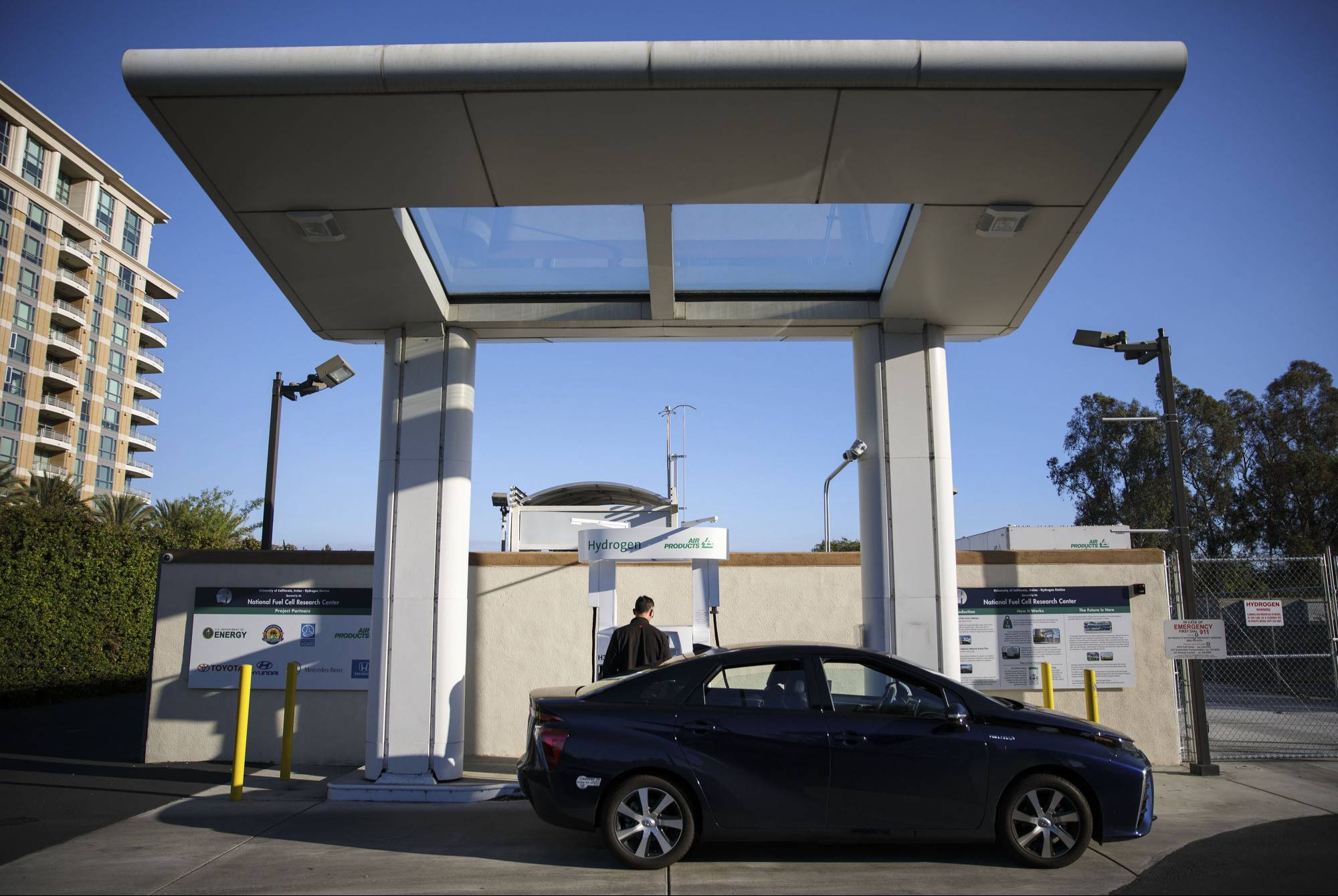A customer refuels a Toyota Mirai hydrogen fuel cell vehicle at the UC Irvine Hydrogen Fueling Station, operated by the National Fuel Cell Research Center, in Irvine, California, on  Feb. 4. | BLOOMBERG
