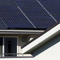 This house built by Mitsui Fudosan Co. is equipped with Panasonic Corp. solar panels. It is part of the Fujisawa Sustainable Smart Town, developed by a consortium led by Panasonic, in Fujisawa, Kanagawa Prefecture. | BLOOMBERG