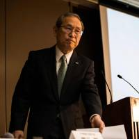 Toshiba Corp. President Satoshi Tsunakawa attends a news conference at the company's headquarters in Tokyo Tuesday over the delay of the release of financial results. | AFP-JIJI