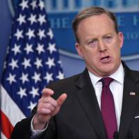 White House Press Secretary Sean Spicer speaks during the daily briefing in the Brady Briefing Room of the White House on Thursday in Washington. | AFP-JIJI