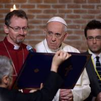 Francis becomes first pope to visit an Anglican church in Rome, eyes trip to South Sudan