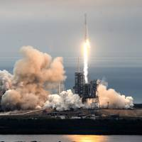 SpaceX rocket soars from NASA's historic moon pad, booster returns back upright
