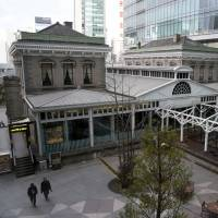 A reproduction of the original Shinbashi Station, which dates back to 1872, is shown in this photo taken Feb. 20 in Minato Ward, Tokyo. | SATOKO KAWASAKI