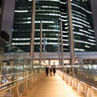 A high-rise office building adds to the nighttime ambiance in the Shiodome district in Minato Ward, Tokyo, on Feb. 24. | SATOKO KAWASAKI