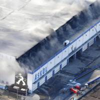 Askul warehouse blaze in Saitama still raging four days on