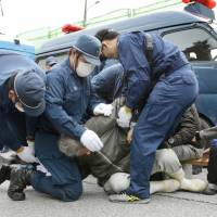 Protests erupt as work resumes on Futenma air base replacement in Okinawa