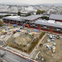 A playground is shown under construction at a site bought by Moritomo Gakuen for a new nationalist elementary school in Toyonaka, Osaka Prefecture, on Feb. 18. | KYODO