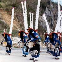 The Nagahama deer dance preservation group in Ofunato, Iwate Prefecture, performs a traditional dance in this undated photo. The traditional dance is struggling to attract younger followers. | KYODO