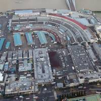 This aerial photo of Tokyo's famous Tsukiji market was taken in August 2016. | KYODO