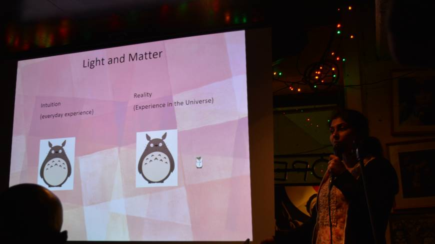 Anupreeta More, a postdoctoral researcher in astronomy at the University of Tokyo's Kavli Institute for the Physics and Mathematics of the Universe, uses Totoro to help explain light and matter in her talk about gravitational lensing.