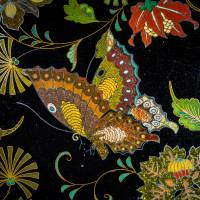 Detail of 'Cloisonne vase with Butterfly and Chrysanthemum Arabesques' | AMIKAWA CLOISONNE MUSEUM OF KYOTO; SENNYUJI, KYOTO