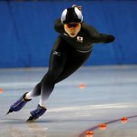 Miho Takagi competes in the women's 1,500-meter speedskating competition on Tuesday at the Asian Winter Games in Obihiro, Hokkaido. Takagi finished first in 1 minute, 56.07 seconds. | REUTERS