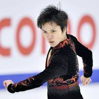 Shoma Uno performs his free skate routine at the Asian Winter Games in Sapporo on Sunday. | KYODO