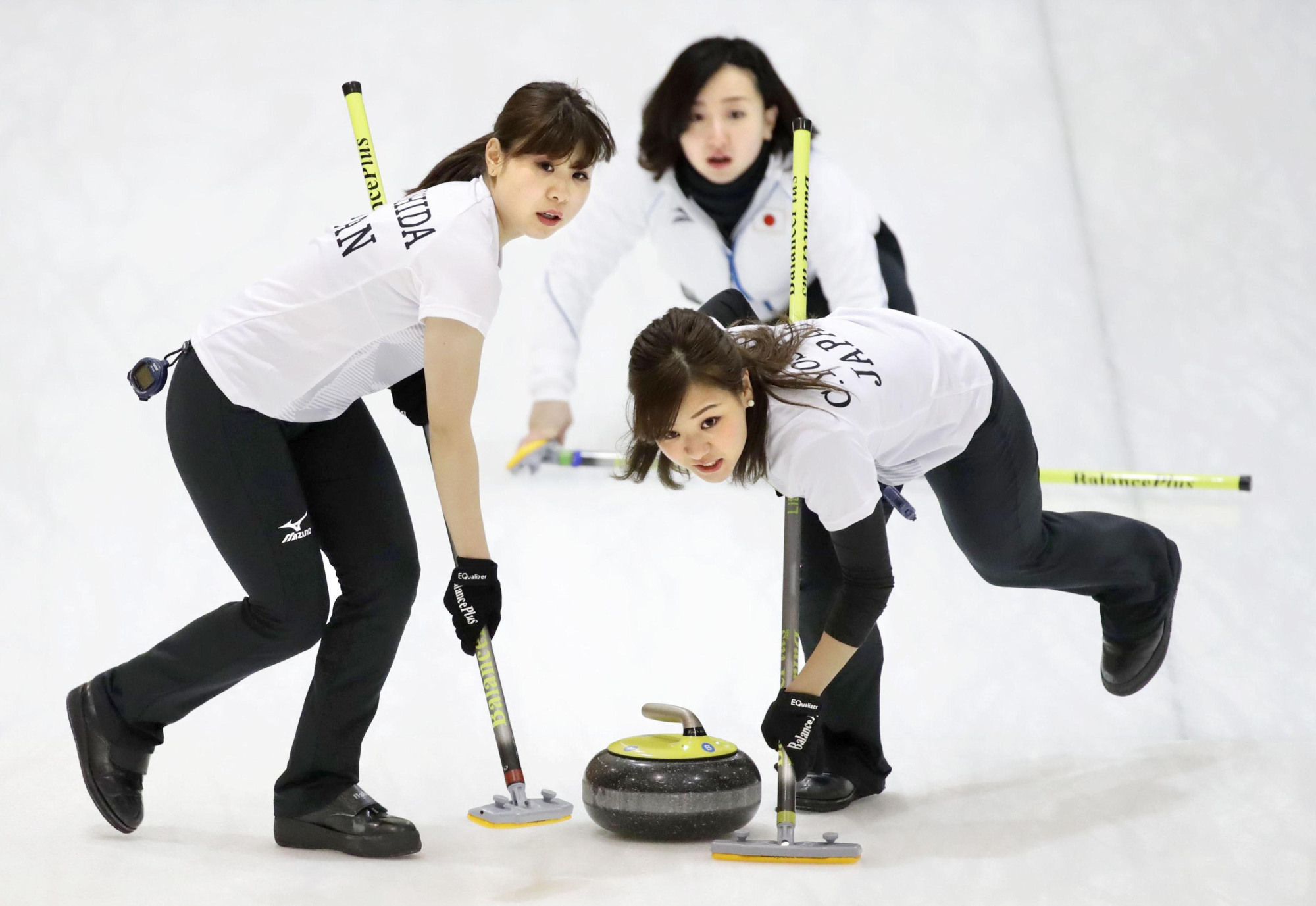 Japan's women's curling team competes against Kazakhstan during the 2017 Asian Winter Games on Sunday in Sapporo. Japan won 17-3.   KYODO