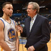 Color commentator Jim Barnett, seen interviewing Warriors star Stephen Curry in February 2016, says the franchise should win multiple championships with its current crop of players. | GOLDEN STATE WARRIORS