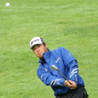 Hideki Matsuyama hits an approach shot on the seventh hole during the second round of the Genesis Open on Saturday. | KYODO