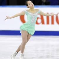 Mai Mihara competes in the women's free skate on Saturday night.   KYODO