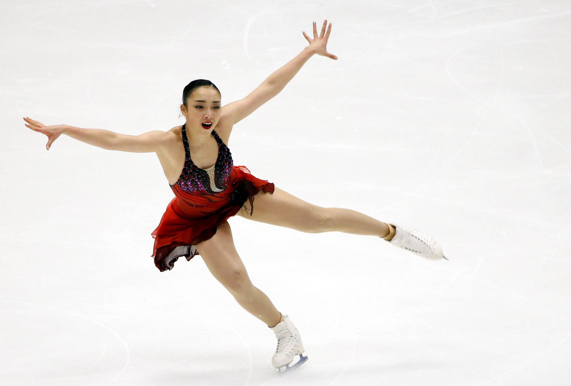 Rika Hongo skates during the women's short program at the Asian Winter Games on Thursday in Sapporo.   REUTERS