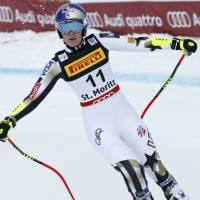 Lindsey Vonn reacts after failing to finish a women's Super-G race at the FIS Alpine Skiing World Championships on Tuesday in St. Moritz, Switzerland. | REUTERS