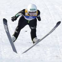 Sara Takanashi competes in a World Cup ski jumping event on Sunday in Hinzenbach, Austria. | KYODO