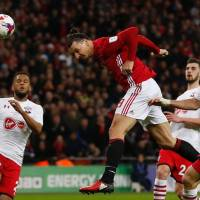 Late Ibrahimovic header gives United League Cup victory