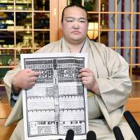 Yokozuna Kisenosato holds the rankings for the upcoming Spring Grand Sumo Tournament. | KYODO