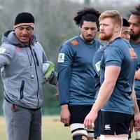 Sunwolves head coach Filo Tiatia (left) insists there is 'no pressure' on his team as it prepares to open its Super Rugby season against the defending champion Hurricanes on Saturday. | AFP-JIJI