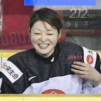 Hanae Kubo scored three goals against Austria in Japan's 6-1 victory on Thursday, the first day of a four-team final qualifying tournament for women's ice hockey for the 2018 Pyeongchang Olympics, in Tomakomai, Hokkaido. | KYODO