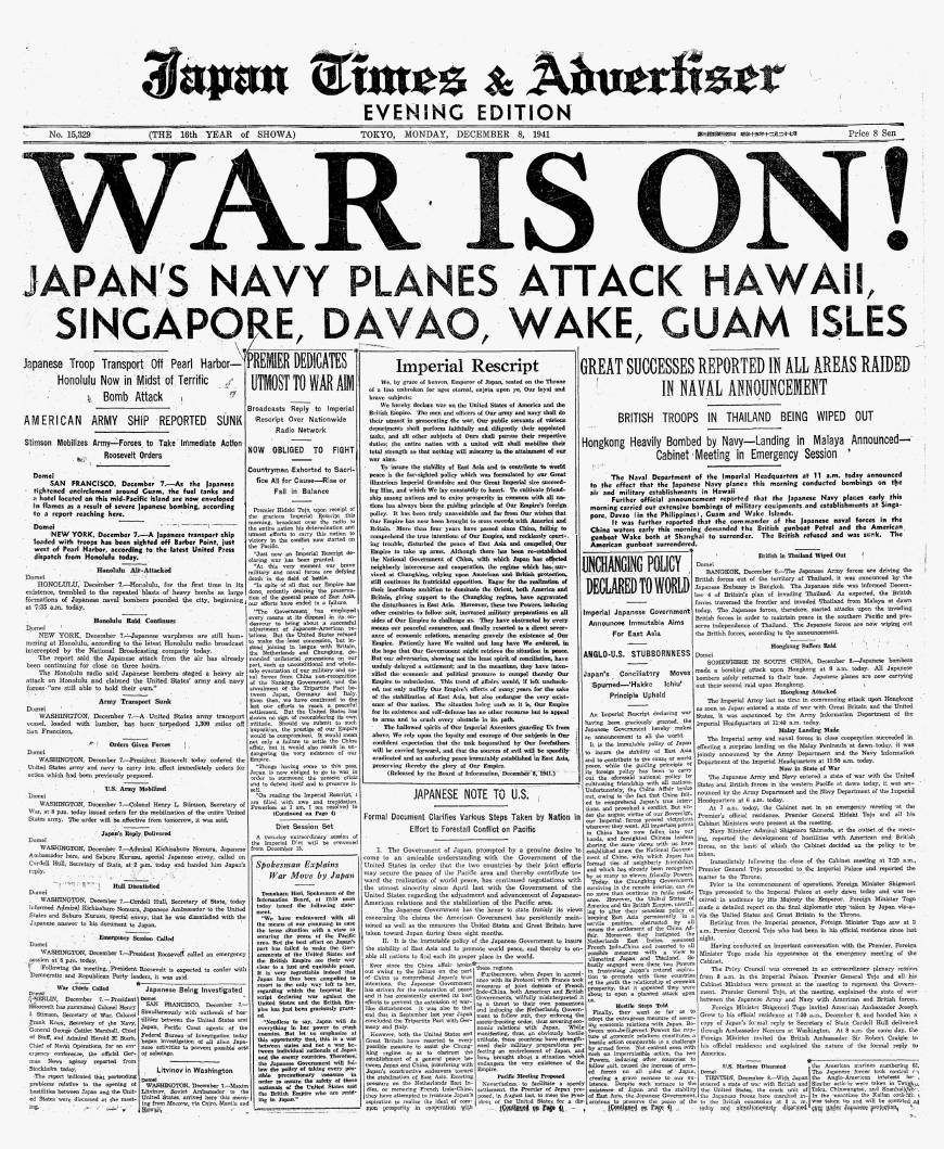 The Front page of The Japan Times on Dec. 8, 1941, reports the Japanese attack on Pearl Harbor.