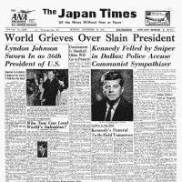 The Nov. 24, 1963, issue of The Japan Times reports U.S. President John F. Kennedy's assassination;