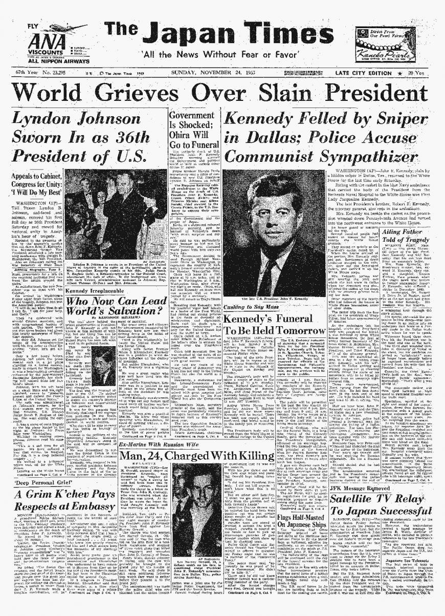 The Nov. 24, 1963, issue of The Japan Times reports U.S. President John F. Kennedy