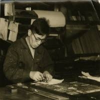 A Japan Times' employee in a photo dated April 3, 1958