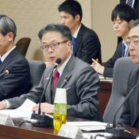 Industry Minister Hiroshie Seko speaks during a meeting in Tokyo on Wednesday with officials from private firms to discuss concerns regarding Britain's plan to leave the European Union. | KYODO