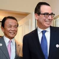 Finance Minister Taro Aso and U.S. Secretary of the Treasury Steven Mnuchin meet for bilateral talks on Friday during the Group of 20 meeting in Baden-Baden, Germany. | AFP-JIJI