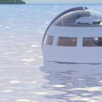 A capsule-shaped hotel room floats on water in a demonstration by the Huis Ten Bosch theme park in Nagasaki Prefecture. | HUIS TEN BOSCH CO. / VIA KYODO