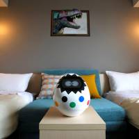 Tapia, a voice-activated, touch-controlled concierge robot, through which hotel guests can control amenities such as the TV, air conditioner and lighting, is seen during a media preview for the newly-opened Henn na Hotel Maihama Tokyo Bay in Urayasu, Chiba Prefecture, on Wednesday. | REUTERS