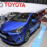 The new Toyota Yaris is presented during the press day at the 87th Geneva International Motor Show in Geneva Wednesday. | MARTIAL TREZZINI / KEYSTONE / VIA AP