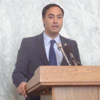 Democrat Joaquin Castro of Texas, co-chair of the U.S.-Japan Caucus, speaks at a reception at the Rayburn House Office Building in Washington on Monday. | KYODO