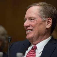 Robert Lighthizer, nominee for U.S. Trade Representative, smiles at the Senate Finance Committee full hearing on his nomination in Washington Tuesday. | AFP-JIJI