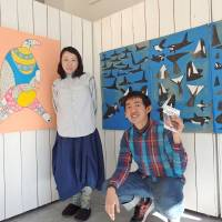 Et tu brut?: An 'Art Brut' exhibition in Tokyo shines a light on an inclusive society. Artists Michiko Matsumoto (left) and Taro Ito pose in front of their respective works, which will be displayed at the exhibition.