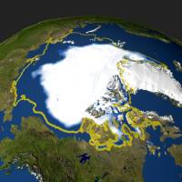 This file satellite photo taken on Sept. 29, 2005, and handout by NASA shows the minimum concentration of Arctic sea ice in 2005 that occurred on Sept. 21, when the sea ice extent dropped to 2.05 million sq. miles. There's good and bad news for people, and polar bears, threatened by the Arctic's vanishing sea ice, scientists said Monday. | HO / NASA / AFP-JIJI