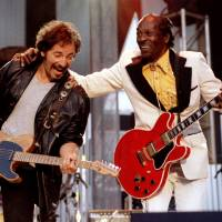 Bruce Springsteen and Chuck Berry perform 'Johnny B. Good' to open The Concert for the Rock & Roll Hall of Fame on Sept. 2, 1995, at Cleveland Stadium. | REUTERS