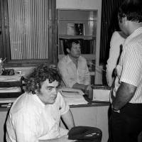 New York Daily News columnist Jimmy Breslin sits at police headquarters in New York after the 1977 arrest of David Berkowitz, the Son of Sam serial killer suspect who had contacted Breslin with several cryptic messages during the killing spree. | AP