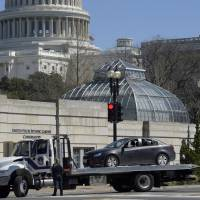 Washington streets closed three hours after driver plows into Capitol Police cruiser, tries to flee