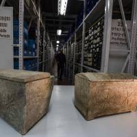 Ossuaries with Hebrew inscriptions reading 'Yeshua' are stored at the antiquities authority in Beit Shemesh, Israel, on March 19. | AP