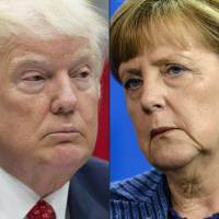 This combination of pictures created Friday shows U.S. President Donald Trump during a meeting about the federal budget in the Roosevelt Room at the White House in Washington last month and German Chancellor Angela Merkel during a joint press conference with the Danish Prime Minister at the chancellery in Berlin in 2014. Europe's most powerful leader, Merkel, meets for the first time on Tuesday with Trump, whose arrival in the White House has sent shockwaves across the Atlantic. | AFP-JIJI