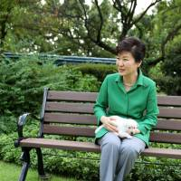 Former South Korean president Park Geun-hye is seen sitting with her pet dogs in this September 2015 photo. | REUTERS