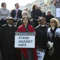 Hundreds rally in Philly against hate after Jewish cemetery vandalism, threats