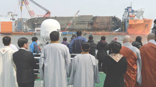 South Korea finds presumed remains from 2014 ferry disaster